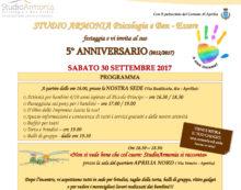 """Questo sabato 30 settembre ad Aprilia la festa per i 5 anni dell'associazione """"Studio Armonia""""."""