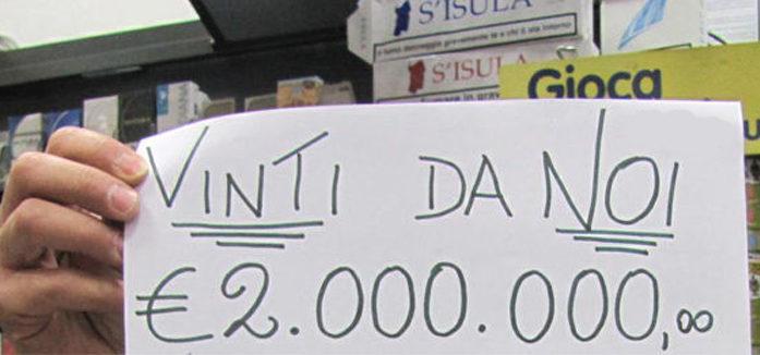 """COLPO DI FORTUNA AD APRILIA: VINTI 2 MILIONI DI EURO CON UN """"MAXI MILIARDARIO"""" DA 20 EURO"""