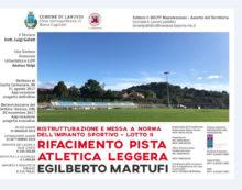 """LANUVIO – Al via i lavori per una nuova pista di atletica leggera al campo sportivo """"Martufi""""."""