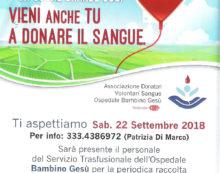 Giornata di raccolta sangue sabato 22 settembre a Campoleone, ad Aprilia.
