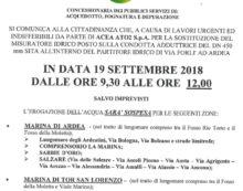 Sospensione idrica questo mercoledì ad Ardea e a Tor San Lorenzo.