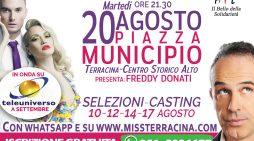 Elezione di Miss e Mister Terracina: martedì 20 Agosto la finalissima in Piazza Municipio. Ospite Antonio Giuliani!
