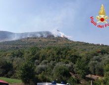 Incendio boschivo in atto a Roccasecca dei Volsci: divorati già 10 ettari di vegetazione. Vigili del Fuoco al lavoro.