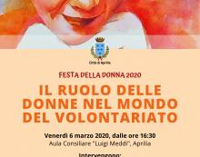8 Marzo all'insegna dell'impegno nel volontariato e dell'arte ad Aprilia. Le iniziative del Comune.
