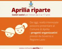 Via alle procedure per i centri estivi 2020: da oggi anche ad Aprilia è possibile presentare al Comune i progetti organizzativi.