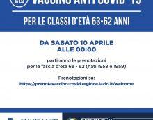 Vaccinazioni anti-Covid: avviate le prenotazioni anche per la fascia d'età 63-62 anni (nati 1958 e 1959).