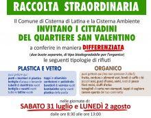Emergenza rifiuti a Cisterna: raccolta differenziata straordinaria sabato e lunedì nel quartiere San Valentino