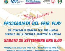 """""""Passeggiata del Fair Play e dell'inclusione"""" questo sabato 25 settembre a Latina."""