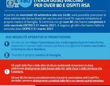 Da questo mercoledì nel Lazio al via le prenotazioni per la terza dose di vaccino per gli Over80 e gli ospiti delle RSA.
