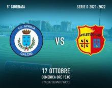 """Calcio di serie D: l'Aprilia Racing Club questa domenica attende al """"Quinto Ricci"""" l'Atletico Uri."""