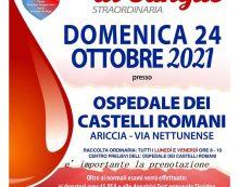 Giornata straordinaria di raccolta sangue questa domenica all'Ospedale dei Castelli.