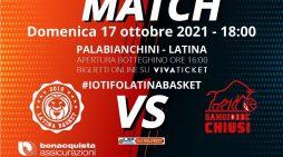 Basket maschile serie A2: il Latina attende al PalaBianchini l'Umana Sangiobbe di Chiusi.